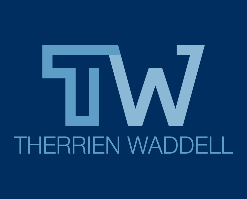 Therrien Waddell Logo On Blue