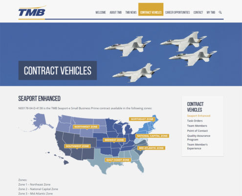 WordPress Web Design and WordPress Web Development for TMB - Contract Vehicles