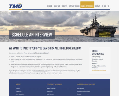 WordPress Website Design and WordPress Website Development for TMB - Schedule an Interview
