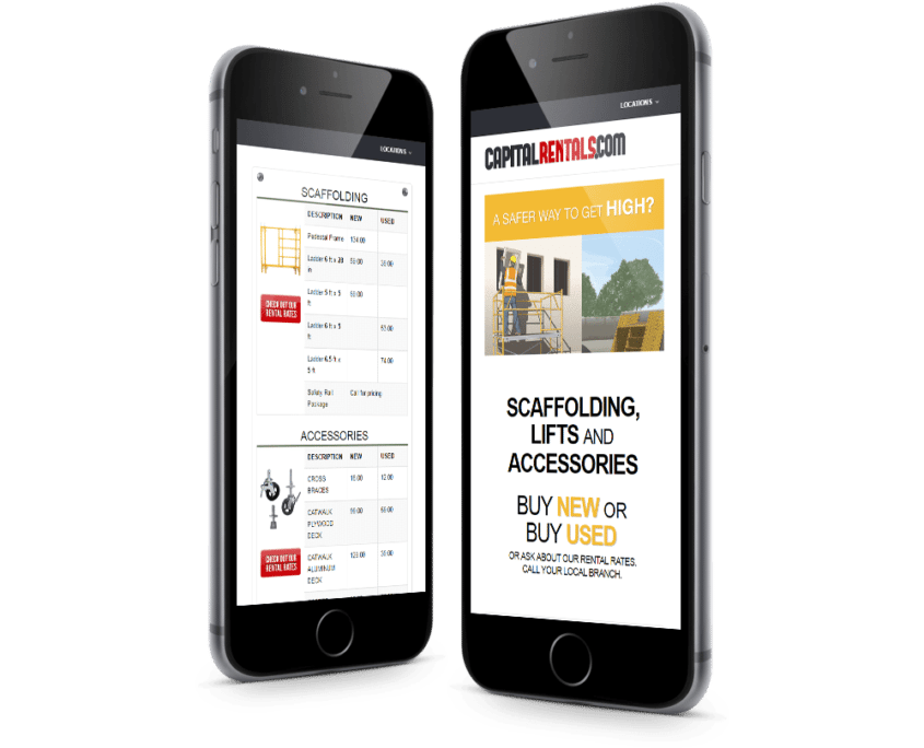 Website Design and WordPress Website Development for Capital Rentals on iPhone - Welcome
