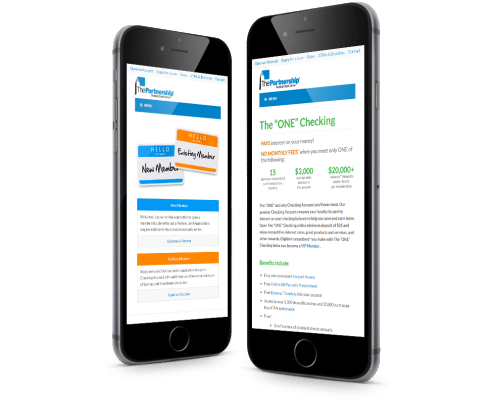 Website Design for The Partnership Federal Credit Union - mobile website on smart phone