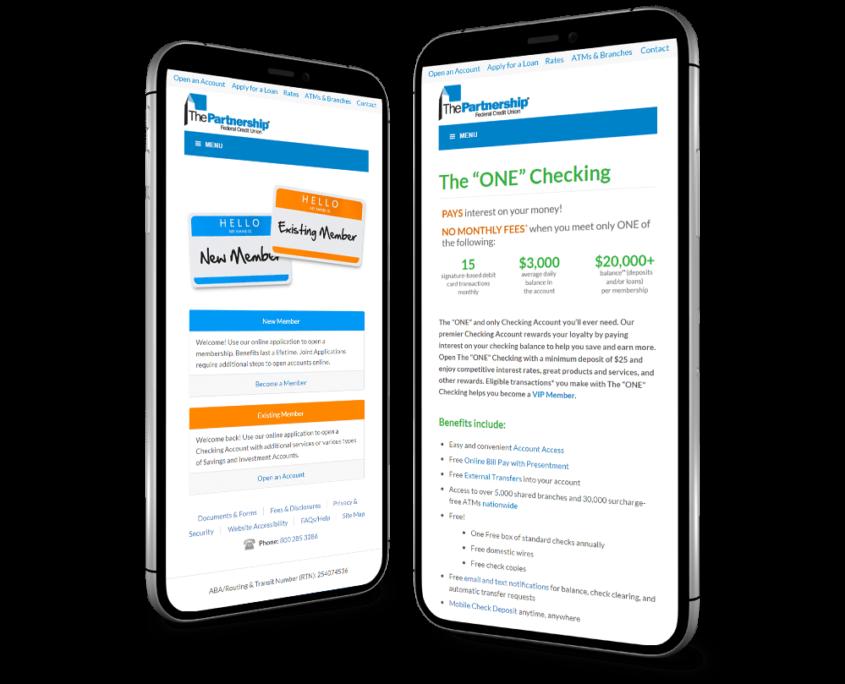 Website Design and Website Development for The Partnership Federal Credit Union - mobile website on smart phone