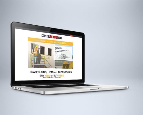 Website Design and WordPress Website Development for Capital Rentals on Laptop - Welcome