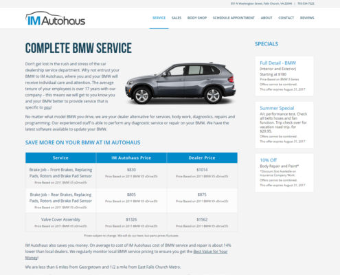 Website Design and WordPress Web Development for IM Autohaus - BMW