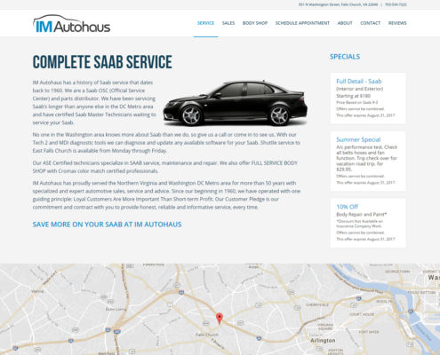 Website Design and WordPress Web Development for IM Autohaus - Saab