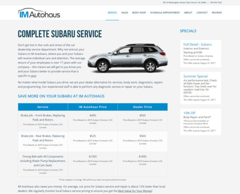 Website Design and WordPress Web Development for IM Autohaus - Subaru