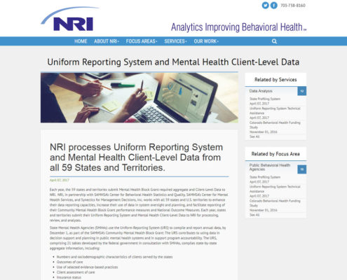 Website Design and Website Development for NRI - Uniform Reporting System
