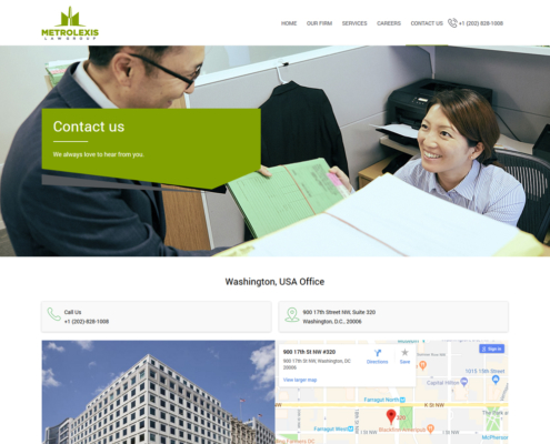 METROLEXIS Website Design - Contact page