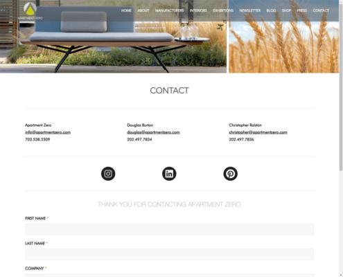 Apartment Zero - WordPress Website Design - Contact