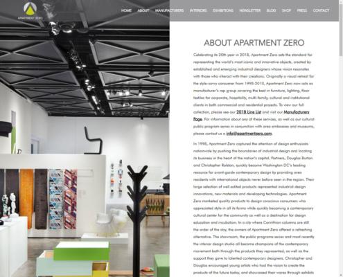 Apartment Zero - WordPress Website Design - About