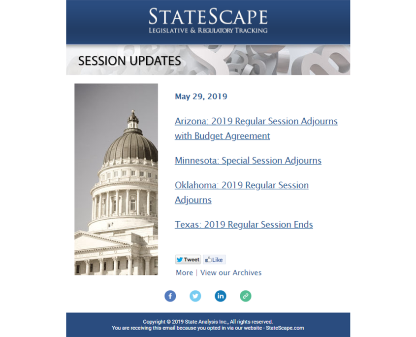 StateScape Email Newsletter - Session Updates
