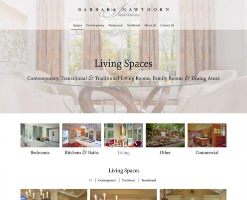 WordPress Website Design and WordPress Website Development for Barbara Hawthorn Interiors - Living Spaces