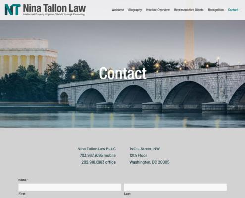 Nina Tallon Law website - Contact