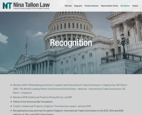 Nina Tallon Law website - Recognition
