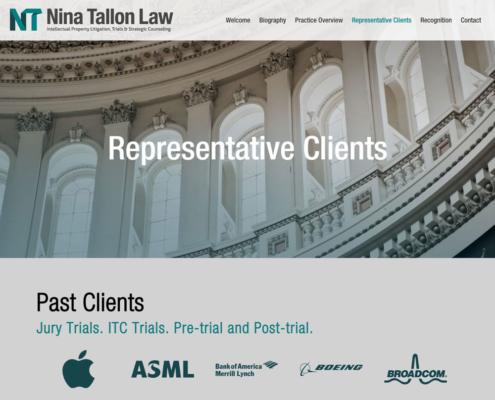 Nina Tallon Law website - Representative Clients