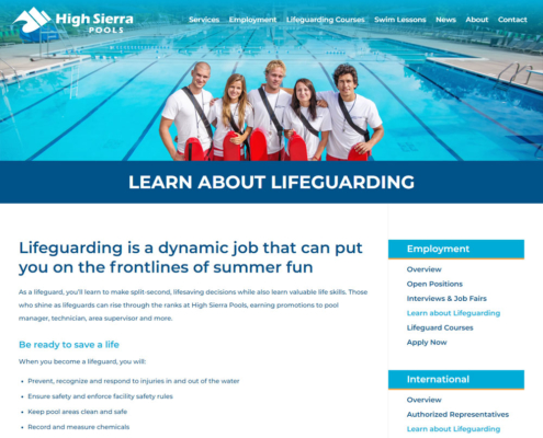 High Sierra Pools Website - Learn About Lifeguarding
