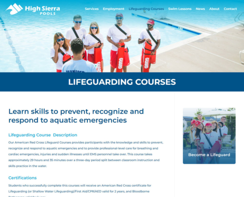 High Sierra Pools Website - Lifeguarding Courses