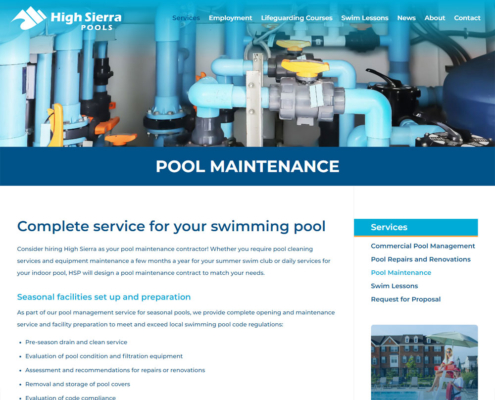 High Sierra Pools Website - Pool Maintenance
