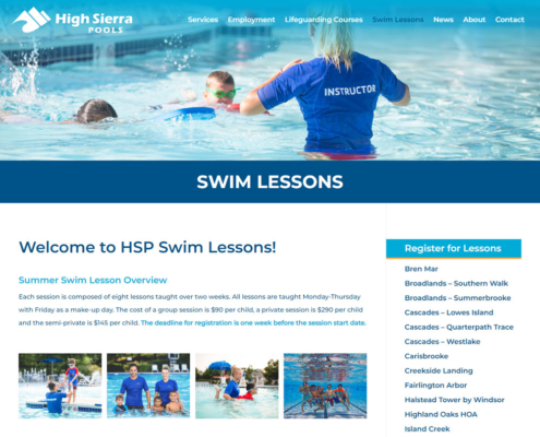 High Sierra Pools Website - Swim Lessons